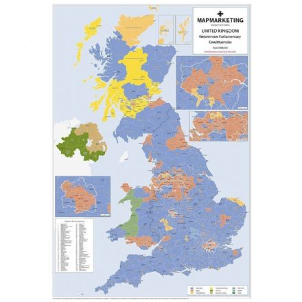 UK Parliamentary Constituencies Wall Map 2017 - Laminated